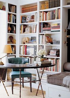 This looks like a wonderful space for reading, creating and relaxing. Subtle colors and the right combination for fun or function.