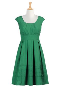 Pleated cotton poplin dress in Jade Green  This reminds me of Lady Katie :)