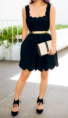 Cute date night outfit...scalloped dress from Nasty Gal