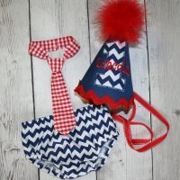 Chevron Red, Nautical First Birthday, Cake Smash Outfit