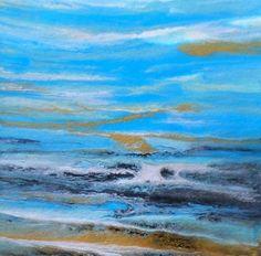 Bluer Than Blue Original Abstract Seascape by Colorado Contemporary Artist Kimberly Conrad/Color Study, painting by artist Kimberly Conrad