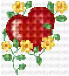 cross stitch flowers and butterflies Cross Stitch Boards, Cross Stitch Heart, Simple Cross Stitch, Cross Stitch Flowers, Wedding Cross Stitch Patterns, Cross Stitch Designs, Cross Stitching, Cross Stitch Embroidery, Hama Beads Design