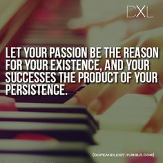 passion for your existence; successes your persistence. Just came back from a retreat and this is just so important to always keep at the front of your mind