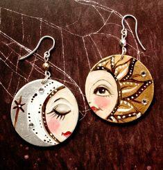 Sol y Luna Hand painted earrings Sterling silver by vickygonart, $22.00