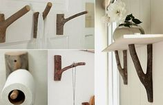 Wood hooks for toilet paper Rustic Shelves, Wooden Shelves, Wood Hooks, Image House, Log Homes, Decoration, Toilet Paper, Wood Projects, Diy Furniture