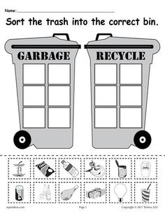 Sorting Worksheet for Kindergarten sorting Trash Earth Day Recycling Worksheets 4 Printable Versions Earth Day Worksheets, Earth Day Activities, Worksheets For Kids, Shapes Worksheets, Bubble Activities, Exercise Activities, Addition Worksheets, Sorting Activities, Winter Activities