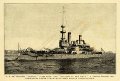 1904 Print U. S. Battleship Oregon Navy Bulldog Vessel Military Tonnage CSM1