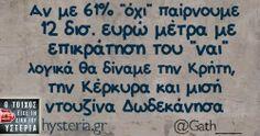Αν με 61% «όχι» παίρνουμε  12 δισ. ευρώ μέτρα