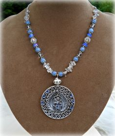 Goddess Path Crafts - Pentacle Of The Archangels Necklace,with angelite