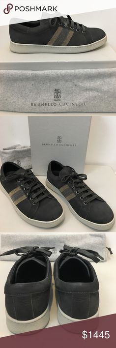 Brunello Cucinelli Nubuck Monili Onyx Sneaker 39 Brunello Cucinelli Nubuck Monili Lace-Up Sneaker, Onyx.  Size 39. Calf leather sneaker, bicolor Monili beaded stripe sides, lace-up front, Leather lining and insole. Rubber soles for traction.  Made in Italy.  Box has shelf wear.  Dust bag included.  Add to your Bruno Cucinelli shoe collection!  Rare find! Brunello Cucinelli Shoes Sneakers