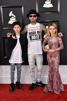 2017 Grammy Awards: Landon Barker, recording artist Travis Barker of music group and Alabama Barker attend The GRAMMY Awards at STAPLES Center in Los Angeles on Feb. Landon Barker, Travis Barker, Alabama Barker, Grammy Red Carpet, Really Cute Outfits, Blink 182, Family Affair, Red Carpet Looks, Dope Outfits