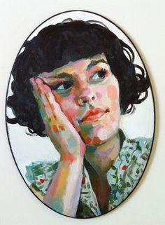 Jenny / original acrylic painting on ellipse  shaped mdf  / woman illustration / Painted flowers / Retro / Hairdo / Flowers. $180.00, via Etsy.