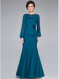 Trumpet/Mermaid Scoop Neck Floor-Length Chiffon Charmeuse Mother of the Bride Dress With Flower(s) (008042313) - JJsHouse