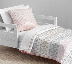 Margot Belgian Flax Linen Quilted Toddler Bedding #pbkids