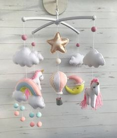 Unicorn Nursery – A Pretty Unicorn Room - A More Crafty Life - baby girl nursery ideas, Girl Nursery Themes, Nursery Ideas, Girl Nurseries, Nursery Room, Bed Room, Unicorn Mobile, Yellow Nursery, Baby Unicorn, Rainbow Unicorn