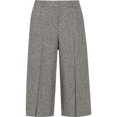 Theory Halientra linen-crepe culottes (€300) ❤ liked on Polyvore featuring pants, capris, bottoms, trousers, pantalones, брюки, grey, zipper pants, gray linen pants and woven pants