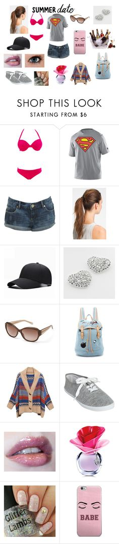 """Beach Bonfire Date with Bae <3"" by jammyanneoshea ❤ liked on Polyvore featuring Under Armour, Miss Selfridge, L. Erickson, Candie's, FOSSIL, Paul & Joe Sister, Retrò, Wet Seal, Justin Bieber and Prodyne"