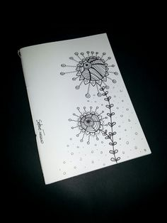 Illustrated notebook cover, zentangle design. Diy notebook A6. Linea moon #06