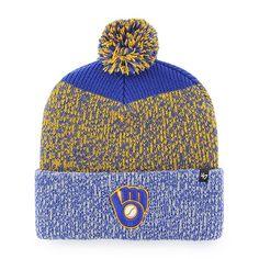 bd0b7852665 Milwaukee Brewers 47 Brand Blue Yellow Static Cuff Knit Hat