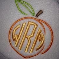 Georgia Peach Monogram Embroidery Design   Apex Embroidery Designs, Monogram Fonts & Alphabets
