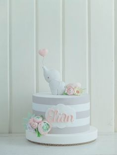 Baby shower cake elephant theme first birthdays 70 super ideas Torta Baby Shower, Baby Shower Pasta, Baby Shower Sheet Cakes, Baby Girl Cakes, Baby Birthday Cakes, Baby Girl Christening Cake, Girls First Birthday Cake, Birthday Parties, Amazing Baby Shower Cakes