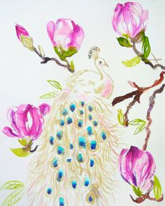 White peacock painted with gold watercolor https://www.etsy.com/ru/listing/508100025/white-peacock-in-magnolia-tree-original