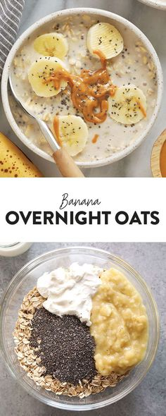mashed bananas and Greek yogurt, these Creamy Banana Overnight Oats are the perfect start to the day! Make a batch of these overnight oats today, and enjoy for breakfast all week long. This healthy overnight oats recipe is calling your name! Overnight Oats Chocolate, Overnight Oats Greek Yogurt, Banana Overnight Oats, Overnight Breakfast, Banana Oats, Healthy Overnight Oats, Oatmeal Yogurt, Fall Breakfast, Breakfast Healthy