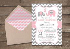 Pink and Grey Elephant Baby Shower Invitation por PixiPrintables