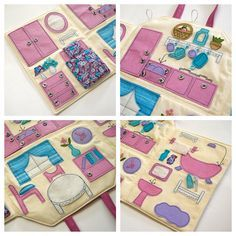 Fabric doll house Portable travel dollhouse by TheMonkeysWorkshop