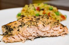 Lemony Pepper Salmon! Yummy and healthy! Serve with veggie rice! And extra lemons of course!