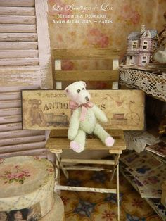 OOAK Teddy bear, pistachio green, ornament collectible toy, miniature dollhouse in 1:12th scale.  It measures 3 cm 1.18 (standing) ***♥!!! SOLD