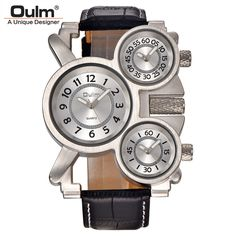 Mens Watches Oulm Top Brand Luxury Military Quartz Leather Strap Wristwatch New #OULM #Military