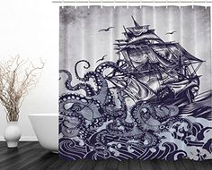Details About Shower Curtain Bathroom Decor Hand Draw Boat Waves Octopus Fabric Blue