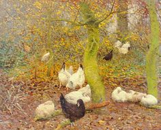 Claus, Emile (Belgian painter, printmaker, 1849-1924) , Poultry in a Wood