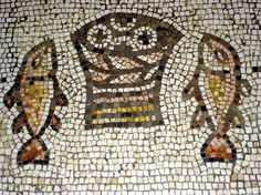 Ancient Mosaic from the Church of the Loaves & Fishes on the Sea of Galilee