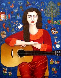"""Violeta Parra - """"Thanks to Life """" Art Print by Madalena Lobao-Tello - X-Small American Songs, American Artists, Beautiful Paintings, Beautiful Images, Collages, Joan Baez, Art Original, Oeuvre D'art, Graphic Design Art"""
