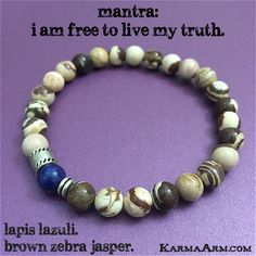 Balancing amid chaos is the manifestation for this Zebra Jasper & Lapis bracelet. This Jasper gemstone is striking & full of rich neutral hues. MANTRA: I am free to live my truth.. - 8mm Brown Zebra J