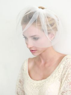 Bridal Veil mini veil blusher birdcage veil tulle veil by woomipyo, $36.00