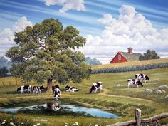 Passing Time by John Sloane ~ summer ~ barn ~ pond ~ cows