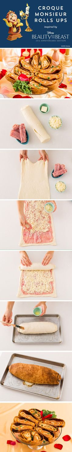 This yummy recipe will delight the entire family. Complete your magical Beauty and the Beast movie night with this delicious kid friendly recipe.  Ingredients: — premade pizza dough — 8 ounces sliced deli ham — shredded cheese — pat of butter
