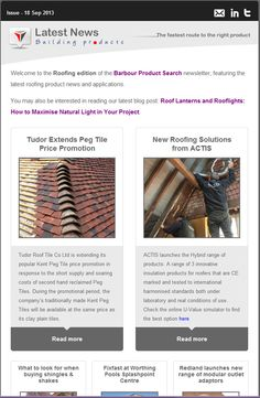The roofing edition of the Barbour Product Search Newsletter featuring peg tiles, insulation products and more