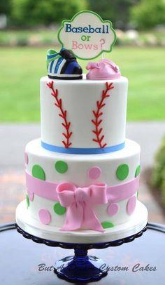 Baseballs Or Bows Gender Reveal Cake cakepins.com