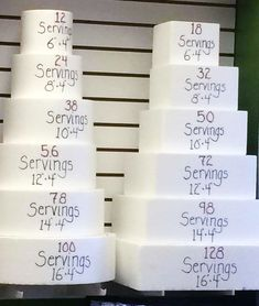 "Cake Servings - A good visual guide. Note that these are 4"" tall tiers."