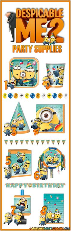 Despicable Me - 8 Can't Miss Despicable Me 2Party Supplies - A look at the upcoming theme set to release in May 2013.