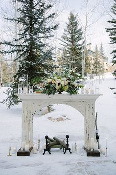 Winter outdoor wedding ideas, wedding ceremony in forestry woodland venues wedding winter Wedding Invites Paper Wedding Ceremony Ideas, Winter Wedding Ceremonies, Outdoor Winter Wedding, Fall Wedding Decorations, Ceremony Backdrop, Outdoor Ceremony, Wedding Themes, Wedding Photos, Winter Wedding Venue