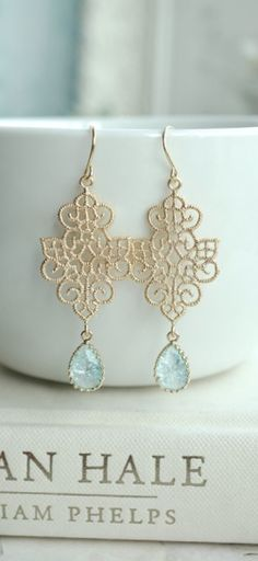 Gold Boho Filigree Aqua Blue Crackled Glass Drops Chandelier Earring. Sister, Maid of Honor. Bridesmaids Gift. Blue Bridal, Something Blue. https://www.etsy.com/listing/219808997/gold-boho-filigree-aqua-blue-crackled?ref=listing-shop-header-2