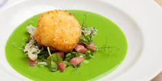 Emily Watkins shares a stunning gammon salad with Great British Chefs, topping with a crispy duck egg and sitting on a vibrant pea soup Chef Recipes, Pork Recipes, Salad Recipes, Cooking Recipes, Gammon Steak, Great British Chefs, Oven Dishes, Pea Soup, Spring Recipes