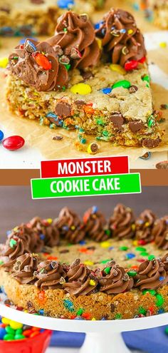 This Monster Cookie Cake is full of M&Ms, chocolate chips, peanut butter and oats for a cookie cake that's fun, chewy and delicious! It's easy to make and perfect for parties! Best Cake Recipes, Cookie Recipes, Dessert Recipes, Chocolate Chip Cookie Cake, Chocolate Chips, Cookie Bars, Cookie Dough, Basic Butter Cookies Recipe, Kinds Of Cookies