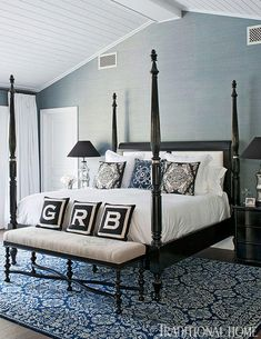 Bill and Giuliana Rancic's master bedroom features a classic four-poster and ornate rug from Surya in deep blues and crisp whites - Traditional Home® / Photo: Michael Garland / Design: Lonni Paul Dream Bedroom, Home Bedroom, Bedroom Furniture, Master Bedroom, Bedroom Decor, Bedroom Ceiling, Bedroom Ideas, Girls Bedroom, Master Suite