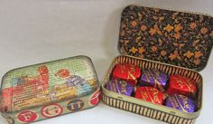 Decorated tins; the perfect size for 6 Dove chocolates! (K. Batsel)